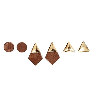 3 пары серег (Коричневый/Золотистый)