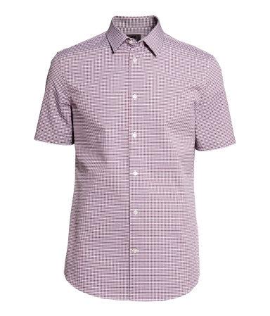 Рубашка из хлопка премиум (Темно-красный/Клетка)