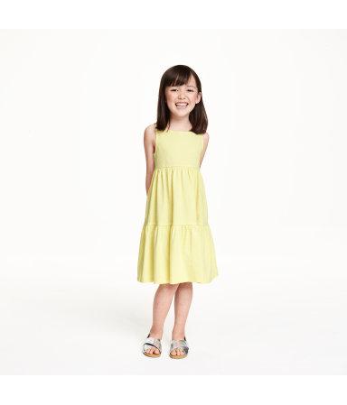 Трикотажное платье с воланами (Желтый)
