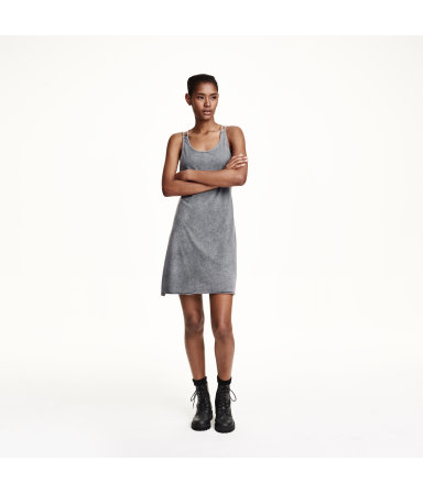 Трикотажное платье (Темно-серый)