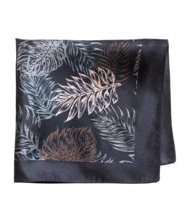 Шелковый носовой платок (Темно-синий/Рисунок)