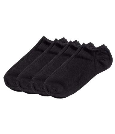 4 пары коротких носков (Черный)