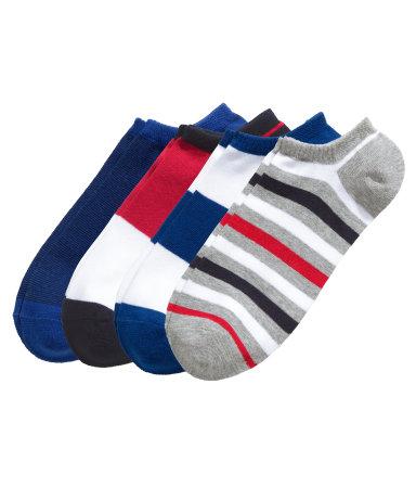 4 пары коротких носков (Красный)
