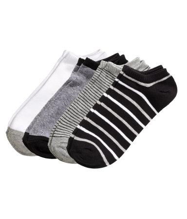 4 пары коротких носков (Черный/Полоска)