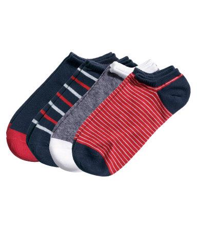 4 пары коротких носков (Красный/полоска)