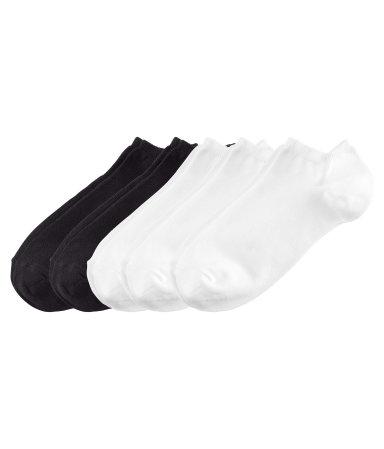 Короткие носки 5 пар (Черный/Белый)