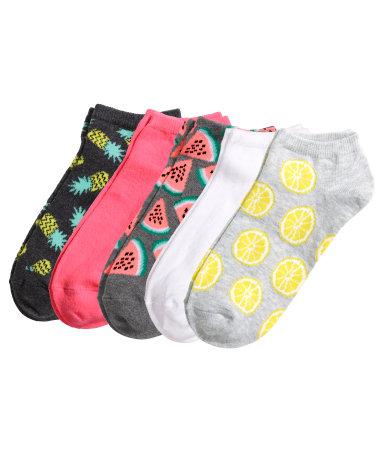Короткие носки 5 пар (Неоново-желтый)