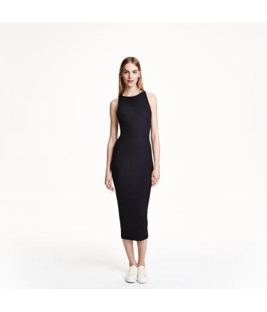 Платье в рубчик (Черный)