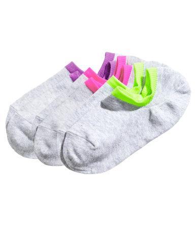 3 пары спортивных носков (Светло-серый/Неон)