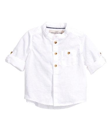 Рубашка из смесового льна (Белый)