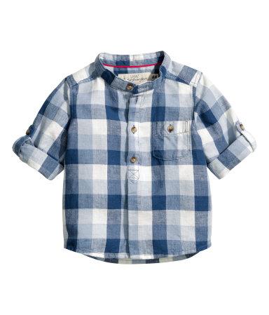 Рубашка из смесового льна (Синий)