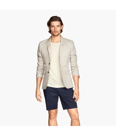 Льняной пиджак (Бежевый)