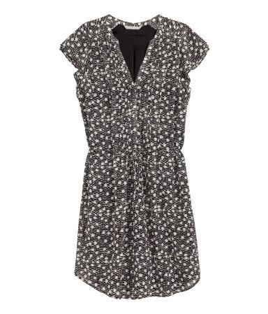 Платье с рукавами-крылышками (Черный/Рисунок)