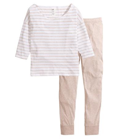 Трикотажная пижама (Бежевый меланж)