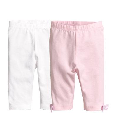 2 пары трикотажных легинсов (Светло-розовый)