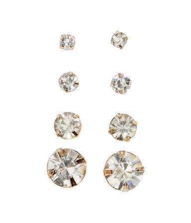 4 пары серег (Золотистый/Sparkly gems)