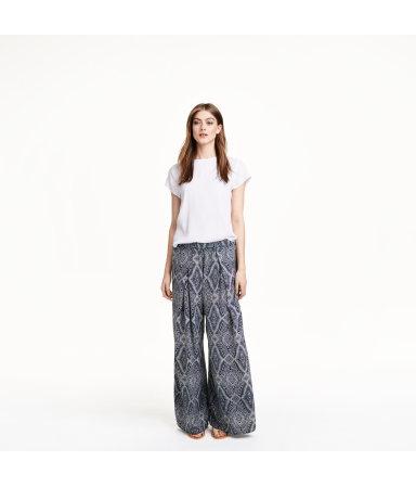 Широкие атласные брюки (Темно-синий рисунок)