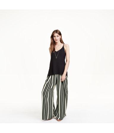 Широкие атласные брюки (Черный/Белая полоска)