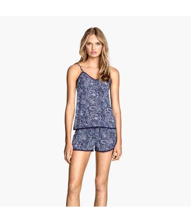 Пижама, 2 предмета (Темно-синий/Цветы)