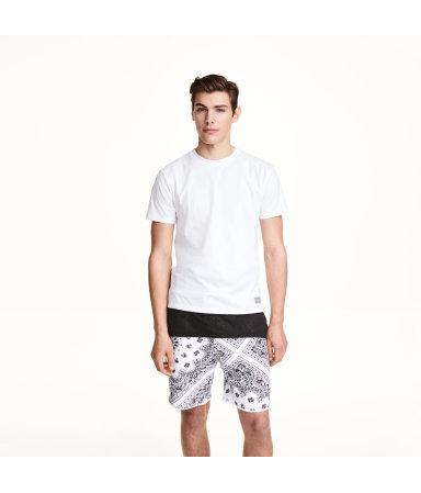 Байковые шорты с принтом (Белый/Пейсли)