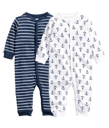 2 пижамы (Темно-синий/Полоска)