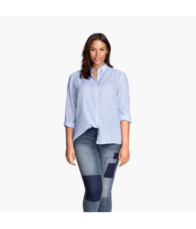 H&M+ Х/б рубашка (Св.-голубой/Полоска)