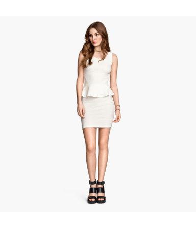 Платье с баской (Белый)