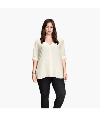 H&M+ Блузка с вырезом (Белый)