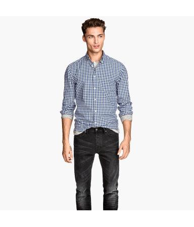 Х/б рубашка (Темно-синий/Клетка)