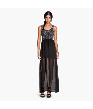 Длинное платье (Черный/Цветы)