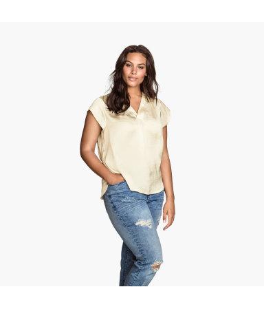 H&M+ Блузка с вырезом (Натур.белый)