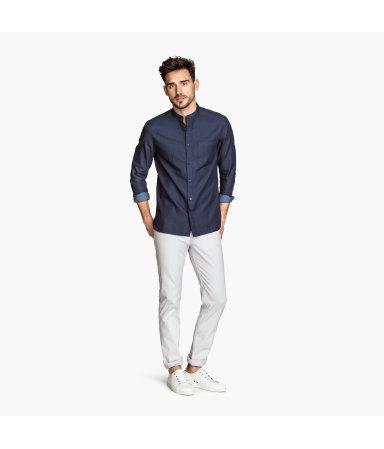 Твиловые брюки Slim fit (Светло-серый)