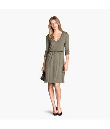 Трикотажное платье (Хаки)