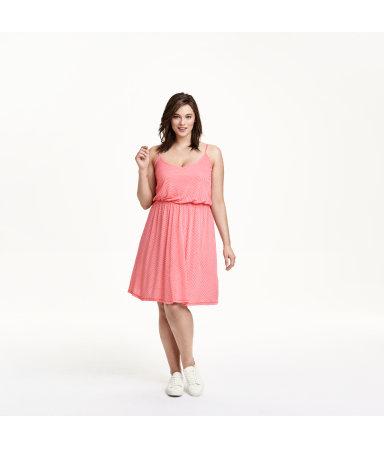 H&M+ Трикотажное платье (Светло-красный/Рисун)
