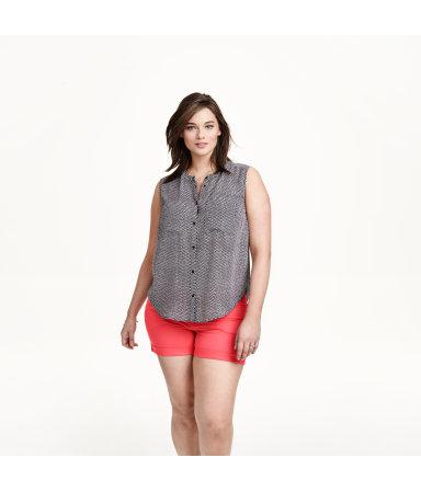 H&M+ Блузка без рукавов (Рисунок/Черн/Рисунок)