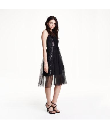 Тюлевое платье с пайетками (Черный)