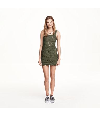 Кружевное платье (Зеленый хаки)