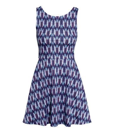Трикотажное платье без рукавов (Темно-синий рисунок)