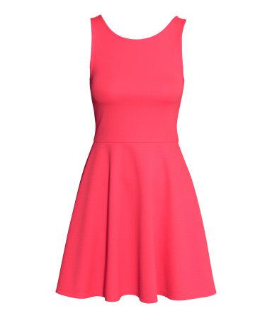 Трикотажное платье без рукавов (Неоново-коралловый)
