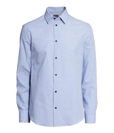 Рубашка из хлопка премиум (Светло-голубой/горошек)