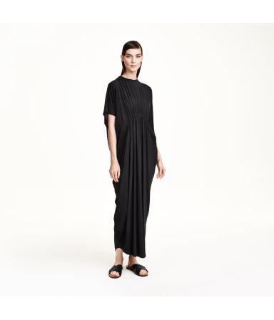 Трикотажное платье макси (Темно-серый)