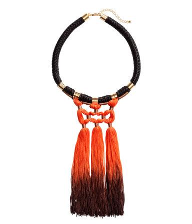Колье с бахромой (Оранжевый/Черный)