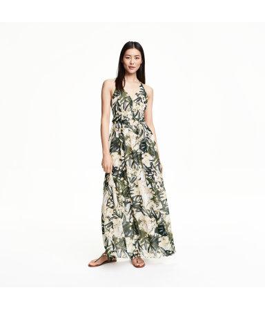 Длинное шифоновое платье (Белый, цветы)