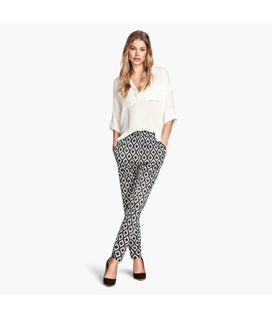 Трикотажные брюки с рисунком (Натур.белый/Узоры)