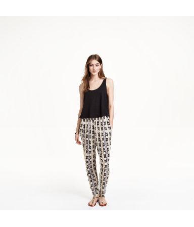 Трикотажные брюки с рисунком (Темно-синий/Белый)