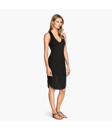 Платье из трикотажа в рубчик (Черный)
