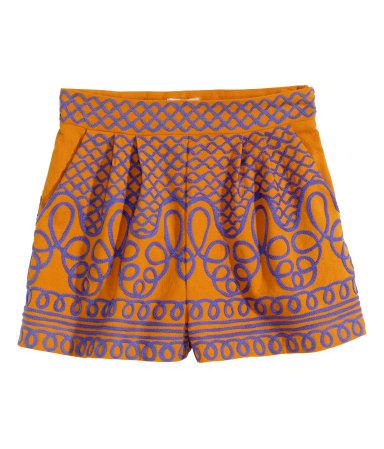 Шорты с вышивкой (Оранжевый)
