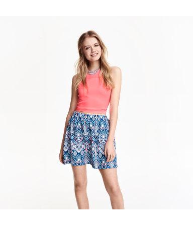 Короткая юбка (Голубой/Цветы)