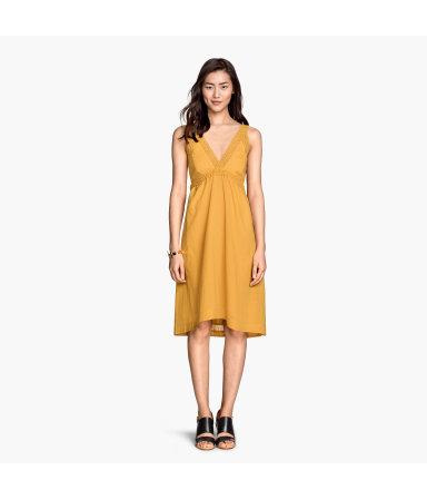 Платье из хлопка без рукавов (Желтый)