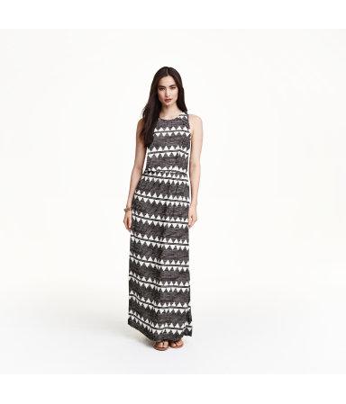 Узорное платье макси  (Белый)